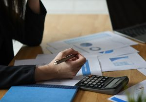 Accounting concept,Accounting staff is summarizing the company budget.